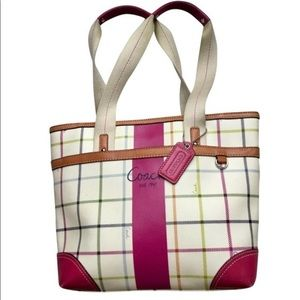 Coach Heritage Tatterstall Pink Stripe Plaid Tote